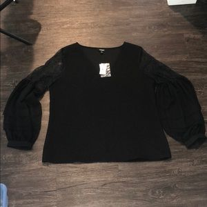NWT Express black blouse with lace detail